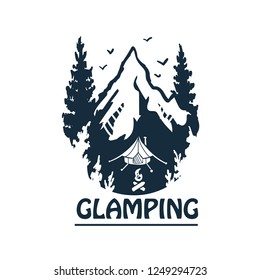 Glamping logo.Summer camp. Vector illustration. Concept for shirt or logo, print, stamp or tee.