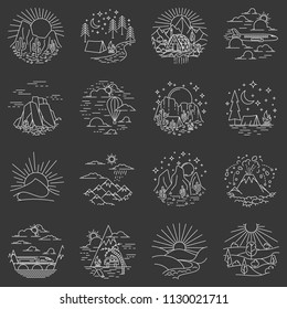 Glamping recreation linear icons set on black background. Round icons and logo design elements with nature landscapes. Vector illustration