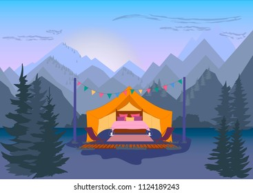 Glamping. Tent with a bed among the mountains. Vector.