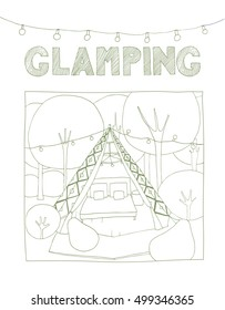 Glamping wigwam. Cute, hand drawn illustration.