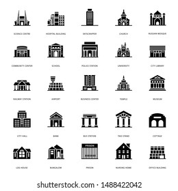 A glance at a pack buildings architectures glyph icons where you can find captivating and editable visual vectors.