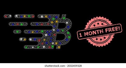 Glare mesh network bitcoin symbol with glowing spots, and 1 Month Free Attention scratched rosette seal print. Illuminated vector mesh created from bitcoin symbol icon.