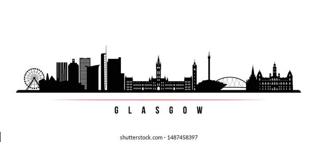 Glasgow City skyline horizontal banner. Black and white silhouette of Glasgow City, Scotland. Vector template for your design.