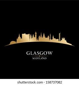 Glasgow Scotland city skyline silhouette. Vector illustration