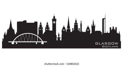 Glasgow Scotland skyline city Detailed vector silhouette