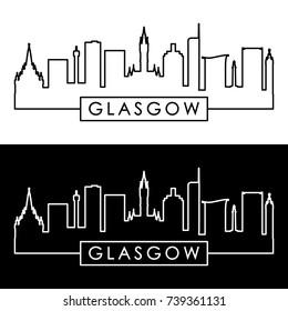 Glasgow skyline. Linear style. Editable vector file.
