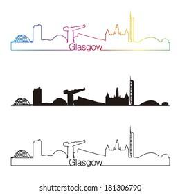 Glasgow skyline linear style with rainbow in editable vector file