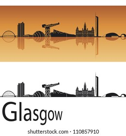 Glasgow skyline in orange background in editable vector file