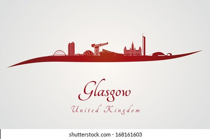 Glasgow skyline in red and gray background in editable vector file