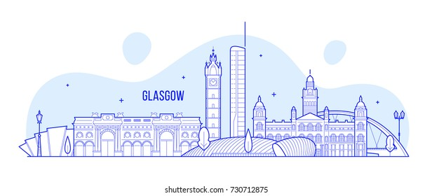 Glasgow skyline, Scotland, UK. This vector illustration represents the city with its most notable buildings. Vector is fully editable, every object is holistic and movable