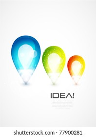 Glass abstract shapes, light bulb idea concept. Eps10 vector illustration