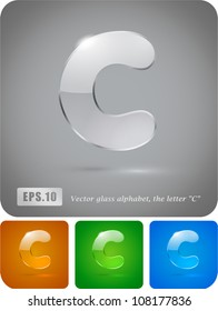 "Glass alphabet, the letter ""C"". Vector Eps 10. The rest of uppercase and lowercase letters, symbols and numbers of the alphabet in my portfolio."