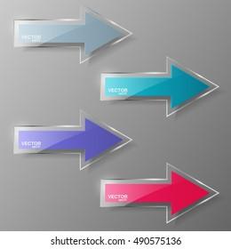 Glass arrows set. Vector illustration.