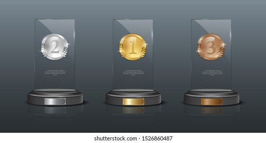 Glass awards realistic vector illustration. Crystal prizes with blank golden, silver and bronze medals 3D isolated clipart set on gray background. Competition winner rewards. Trophy design elements