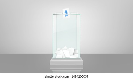 Glass ballot box filled with documents and voting envelope in slot, standing on glossy floor 3d realistic vector illustration. Fair and transparent social polling, democratic elections process concept