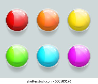 Glass banner or glass frames. Vector glossy web buttons. Color buttons for web interface, colorful glossy buttons set illustration