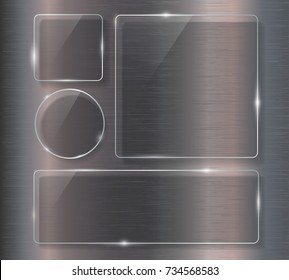 Glass banner set on steel metallic background.