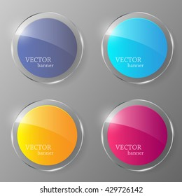 Glass banner set. Vector illustration.