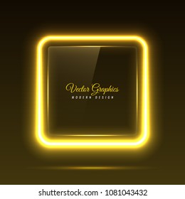 A glass banner of a square shape. Transparent billboard with neon lights. Vector illustration.