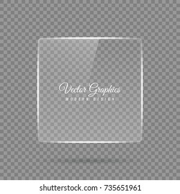A glass banner of a square shape. Transparent billboard with highlights. Vector illustration.