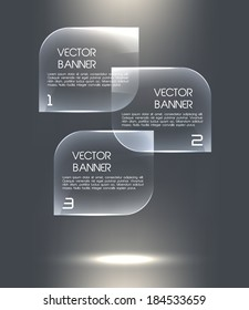 Glass banners. Vector speech bubbles for business design, infographics, reports, options, presentations.