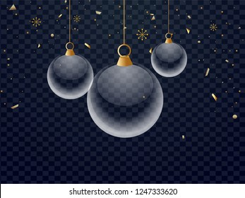 Glass baubles hang on black png background decorated with snowflakes and confetti.