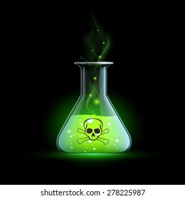 Glass beaker with a poisonous liquid. Vector Image.