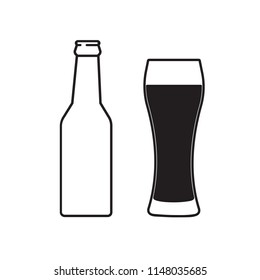 Glass of beer and bottle. Symbol Template Logo. Isolated vector illustration on white background.