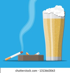 Glass of beer with cigarette and ashtray. Alcohol, tobacco. Beer alcoholic drink, smoking products. Unhealthy lifestyle concept. Vector illustration in flat style
