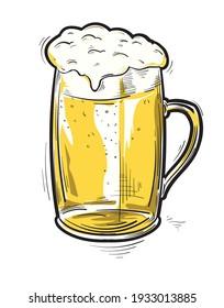 Glass of beer drawn cartoon illustration