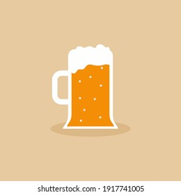 A glass of beer flat icon design element. Root beer foam in big mug with handle for drink. Octoberfest beer symbol with cartoon style. Toasting, champagne and celebration. Vector illustration
