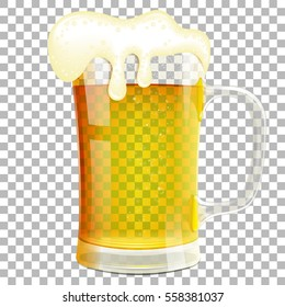 Glass of Beer with Foam on transparent background. isolated vector illustration