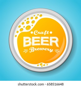 Glass of beer with foam - top view. Vector illustration.