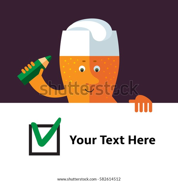 Glass of beer  holding check list. Flat style vector illustration . Funny cartoon character