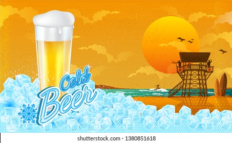 Glass of beer in ice cubes with miami beach landscape