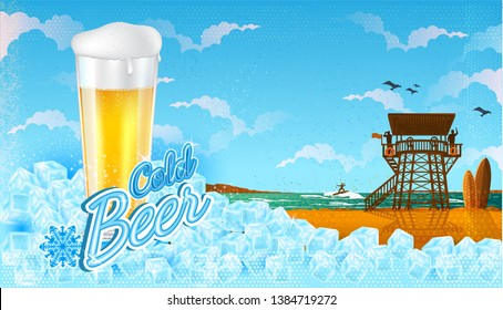 Glass of beer in ice cubes with miami beach landscape with blue sky