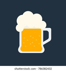 glass of beer icon isolated vector illustration on blue transparent background