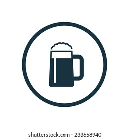 glass of beer icon on white background