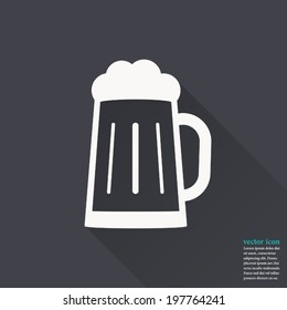 Glass of beer icon,Vector illustration flat design with long shadow