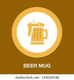 Glass of beer illustration, vector beer mug - drink alcohol symbol, bar sign