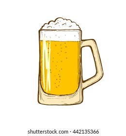 Glass of beer isolated on white background, hand-drawing oktoberfest beer, beer with foam. Vector