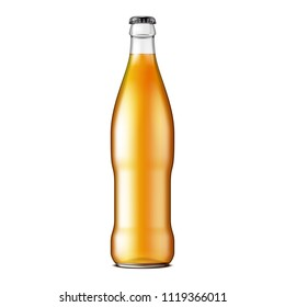 Glass Beer Lemonade Cola Clean Bottle Yellow Brown. Carbonated Soft Drink. Mock Up Template. Illustration Isolated On White Background. Ready For Your Design. Product Packaging. Vector EPS10