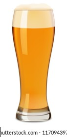 Glass of beer mockup. Realistic illustration of glass of beer vector mockup for web design isolated on white background