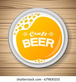 Glass of beer on wooden table - top view. Vector.