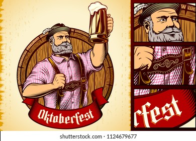 Glass of beer in rising up hand of man in traditional bavarian clothes on background of wooden barrel. Ribbon with title Oktoberfest. Vector vintage graphic illustration in retro engraving ink style.
