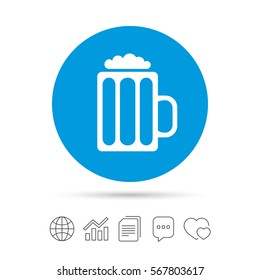 Glass of beer sign icon. Alcohol drink symbol. Copy files, chat speech bubble and chart web icons. Vector