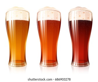 Glass of beer with a varieties of foamy Beer Light Lager, Cool Red, Dark Porter; High detailed realistic vector icon set for a brewing theme. No Mesh.