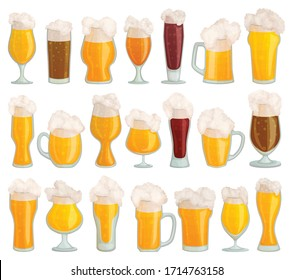Glass of beer vector cartoon set icon. Isolated cartoon set icon pint glassware. Vector illustration glass of beer on white background .