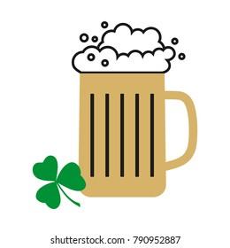 Glass of beer. Vector mug of beer. Foam beer. Oktoberfest. St. Patrick's Day. Vector clover. Symbol of Ireland. Trefoil. St. Patricks's Day. Hand drawn plant. Leaf of clover.
