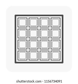 Glass block wall icon, black color.